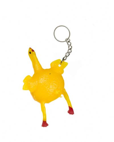 Rubber Chicken Keychain with Egg